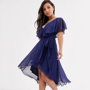 ASOS Petite Cape Back Dipped Hem Midi Dress